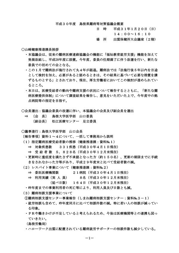 H30年度島根県難病等対策協議会 要約